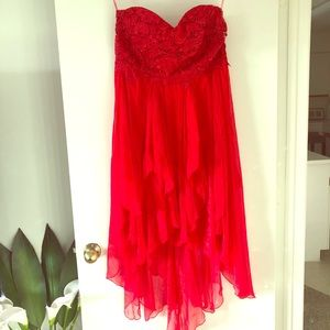 Red embroidered lace dress